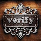 Verify vector metal word on wood — Stok Vektör