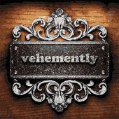 Vehemently vector metal word on wood — Stock Vector