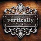 Vertically vector metal word on wood — Stock Vector