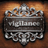 Vigilance vector metal word on wood — Stock Vector