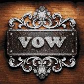 Vow vector metal word on wood — Stock Vector
