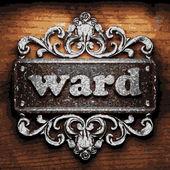 Ward vector metal word on wood — Stock Vector