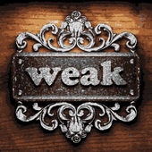 Weak vector metal word on wood — Cтоковый вектор