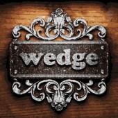 Wedge vector metal word on wood — Stock Vector