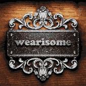 Wearisome vector metal word on wood — Vector de stock