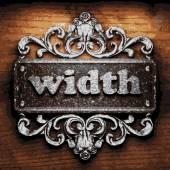 Width vector metal word on wood — Stock Vector