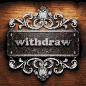 Withdraw vector metal word on wood — Stock Vector