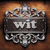 Wit vector metal word on wood — Stock Vector