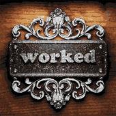 Worked vector metal word on wood — Stock Vector