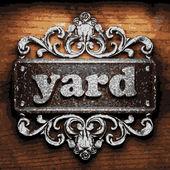Yard vector metal word on wood — Stock Vector