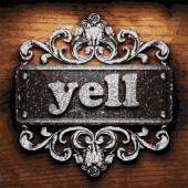 Yell vector metal word on wood — Stock Vector