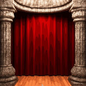 Vector red velvet curtain stage — Stock Vector