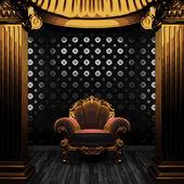 Vector bronze columns, chair and tile wall — Stock Vector