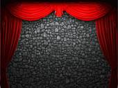 Vector velvet curtain and stome wall background — Stock Vector