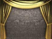 Vector golden curtain background — Stock Vector