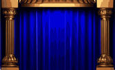 Vector blue curtain stage — Stock Vector