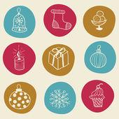Christmas doodles design elements — Stock Vector
