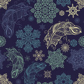 Pattern with snowflakes and feathers — Stockvector