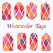 Hang Tags with Watercolor Checked Pattern — Stock Vector