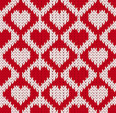 Seamless knitted pattern with hearts — Vector de stock