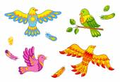 Fantasy vector birds and feathers — Stock Vector