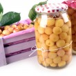 Fruit compote jars — Stock Photo #65241121