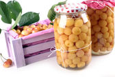 Fruit compote jars — Stock Photo