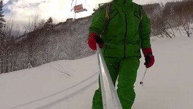 Ski sport man downhill at winter with slow motion — Stock Video