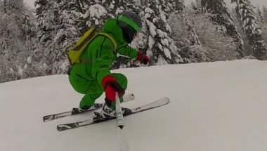 Ski sport man downhill at winter with slow motion — Video Stock