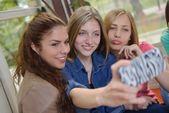 Teens group in school — Stock Photo