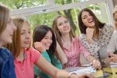 Teens group in school — Foto Stock