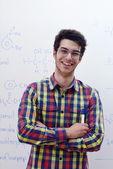 Teenage boy  on chemistry classes — Stock fotografie