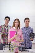 Happy teens group in school — Foto de Stock