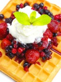 Crispy waffle with fruits — Stock Photo