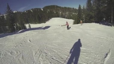 Ski, man going downhill at winter — Stock video