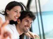 Relaxed young couple at home — Stock Photo