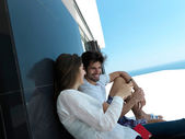 Young couple making selfie together — Stok fotoğraf