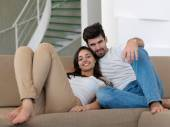 Young couple together at home — Stock Photo