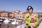 Tourist woman in verona — Stock Photo