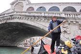 Venice italy, gondola driver in grand channel — Stock Photo