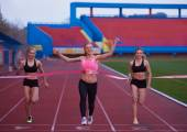 Female Runners Finishing Race Together — Stock Photo