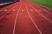 Red athletic track — Stock Photo
