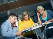 Happy students group studying — Stock Photo