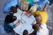 Group of students  top view — Stock Photo