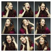 Collage of woman different facial expressions. — Stock Photo
