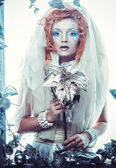 Winter beauty woman. Holiday makeup. — Stock Photo