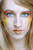 Face of a girl with creative visage — Foto de Stock