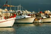 Fishing boats moored in port in Zante town, Greece — Stock Photo