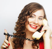 Young  woman with vintage phone. — Stock Photo