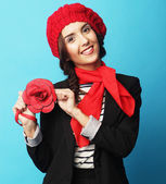 Beautiful girl in a red beret. French style. — Stock Photo
